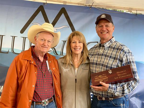 Sale Host and Hired Hand customer John Marshall with High Sellers and Hired Hand customer Suzanne and Brian Brett, Brett Ranch
